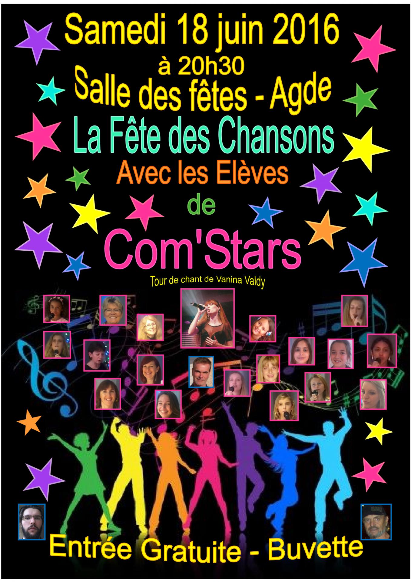 Affiche spectacle de com stars 18 juin 2016